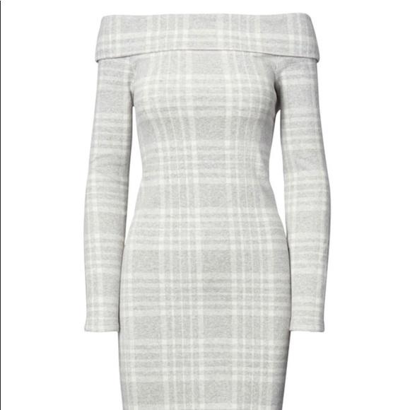2fce698f44be Banana Republic Dresses   Skirts - Banana Republic Grey Plaid off the shoulder  dress